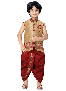 Red N Golden Beige Kids Dhoti Kurta