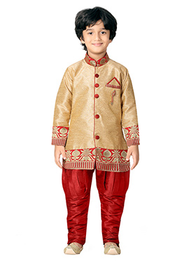 Red N Golden Beige Kids Sherwani