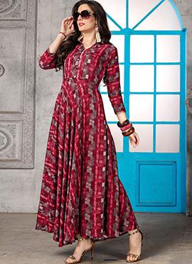 Red N Grey Printed Dress