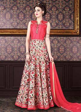Coral Pink N Off White Floor Length Anarkali Suit