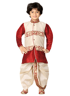 Red N Off White Kids Dhoti Kurta