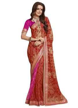 Red N Pink Bandhini Chiffon Saree