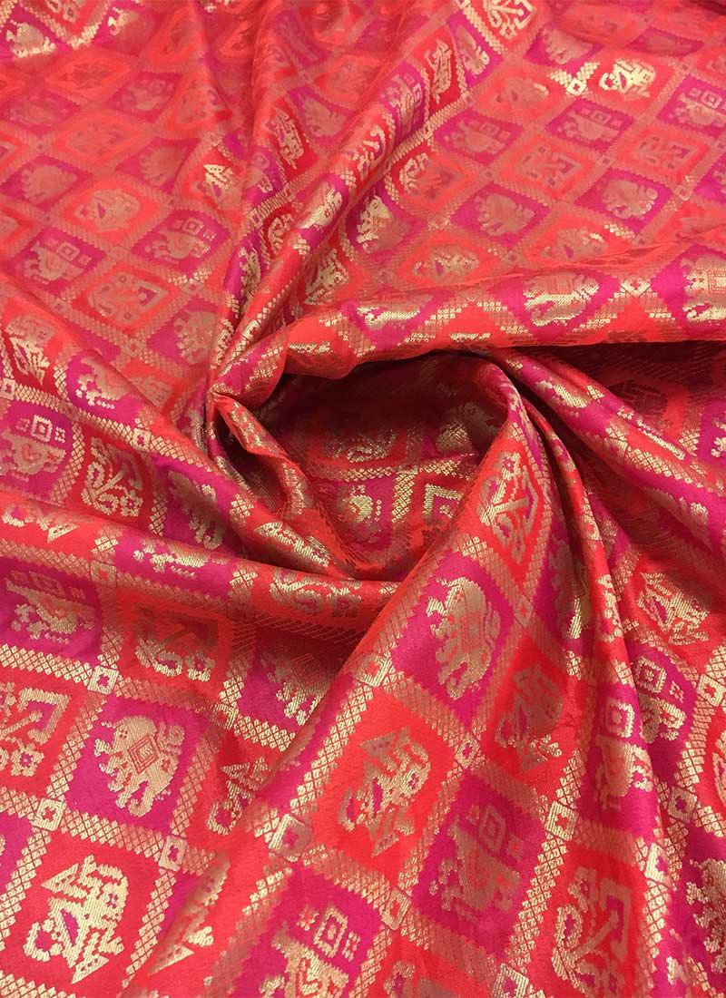 Red And Pink Bedroom: Buy Red N Pink Dual Tone Art Silk Fabric, Zari , Brocade
