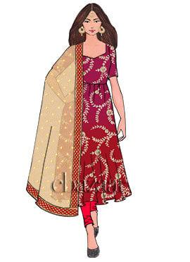 Red N Pink Gota Patti Chinnon Anarkali Suit