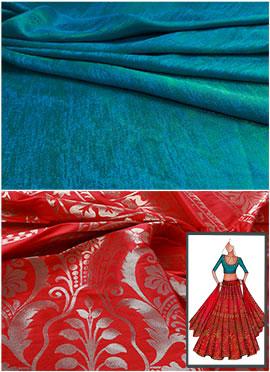 Red N Turquoise Umbrella Lehenga Choli