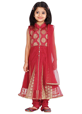 Maroon Net Kids Anarkali Suit