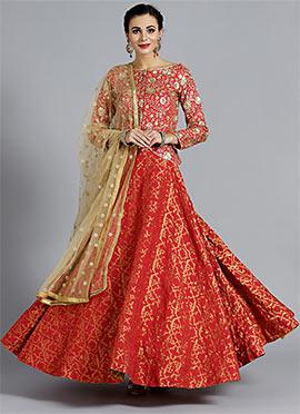 92319280f Red Zari Embroidered Umbrella Lehenga ...