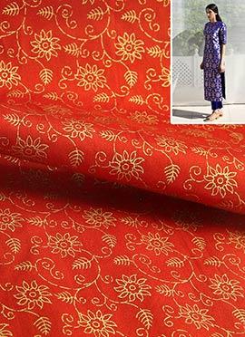 Reddish Orange Art Dupion Silk Dress Material