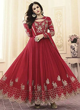 Rose Red Georgette Abaya Style Anarkali Suit