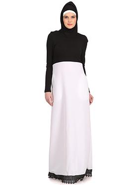Roshini Black Jersey and White Kashibo Abaya
