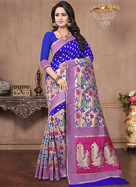 Royal Blue Art Benarasi Silk Saree