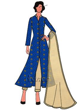 Royal Blue Art Silk Front Slit Straight Pant Set