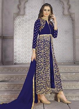 Royal Blue Art Silk Net Straight Pant Suit
