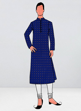 Royal Blue Foil Printed Kurta Pyjama