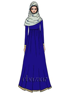 Royal Blue Georgette Abaya
