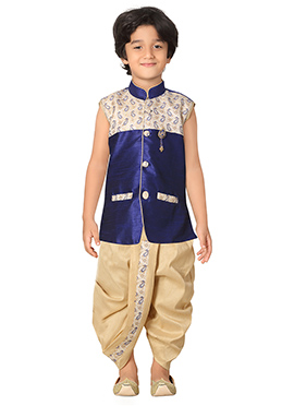 Royal Blue N Beige Kids Dhoti Kurta