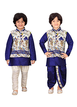 Royal Blue N Cream Kids Dhoti Kurta N Bandi Set Co