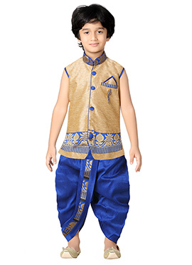 Royal Blue N Golden Beige Kids Dhoti Kurta