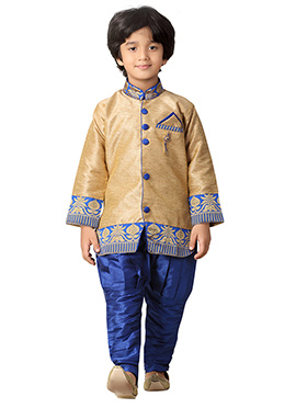 Royal Blue N Golden Beige Kids Sherwani