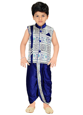 Royal Blue N Off White Kids Dhoti Kurta