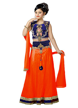 Royal Blue N Pink Teens A Line Lehenga Choli