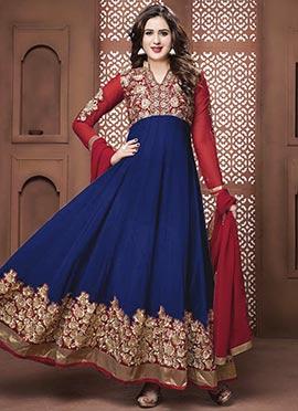 Royal Blue N Red Georgette Ankle Length Anarkali S