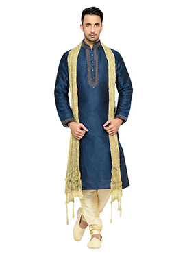 Blue Solid Patterned Art Dupion Silk Kurta Pyjama