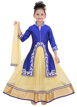 Royal Blue Taffeta Kids Long Choli Lehenga
