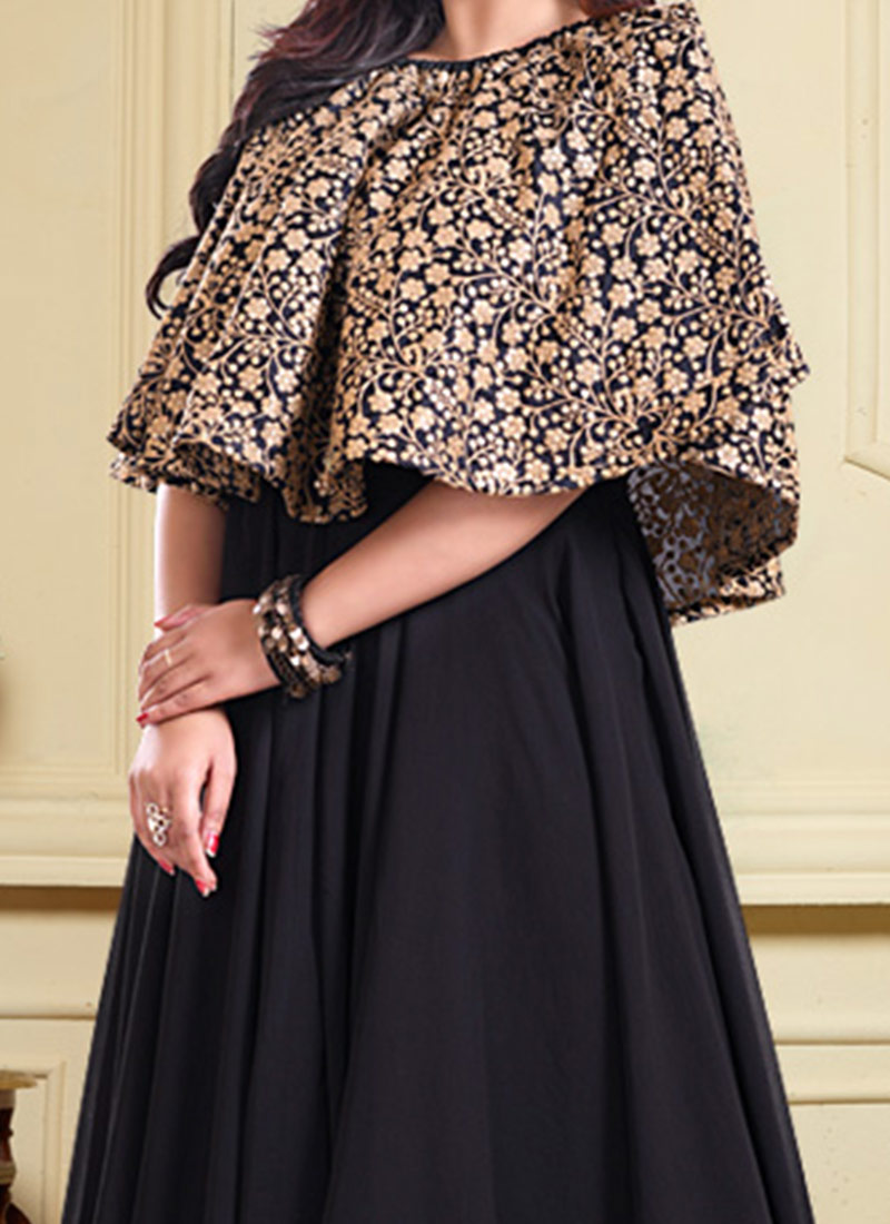 Buy Ruffle Gown With Off Shoulder Cape, Party, dresses and gown ...