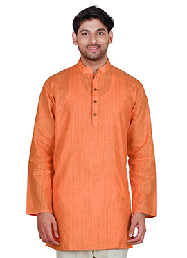 Orange Cotton Short Kurta
