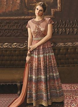 Rust Printed Anarkali Suit