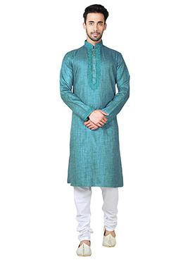 Sea Blue Blended Cotton Kurta Pyjama