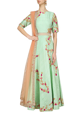 Sea Green Art Silk Umbrella Lehenga Choli