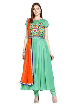 Sea Green Georgette Anarkali Suit