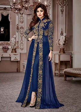 Shamita Shetty Navy Blue Georgette Anarkali Suit