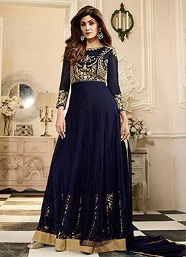 Shilpa Shetty Blue Georgette Anarkali Suit