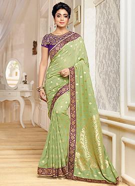 Shriya Saran Olive Green Benarasi Kora Silk Saree