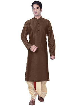 Silk Blend Deep Brown Dhoti Style Kurta Pyjama