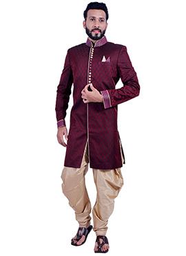 Silk Brocade Maroon Indowestern Sherwani