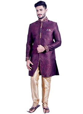Silk Brocade Violet Indowestern Sherwani