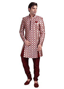 Silver N Maroon Breeches Style Sherwani