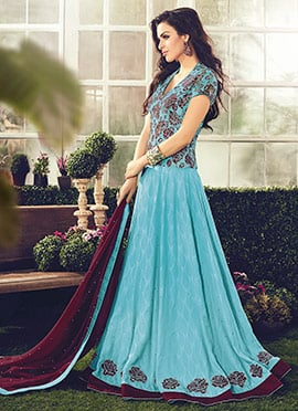 Sky Blue Cotton Abaya Style Anarkali Suit