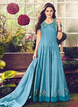 Sky Blue Cotton Abaya Style Anarkali Suit
