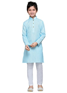 Sky Blue Cotton Teens Kurta Pyjama