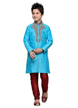 Sky Blue Embroidered Art Silk Teens Kurta Pyjama