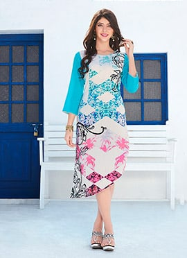 Sky Blue N White Rayon Knee Length Kurti