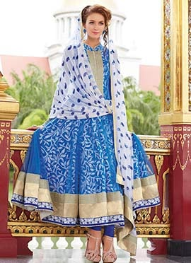Sky Blue Net N Cotton Printed Anarkali Suit