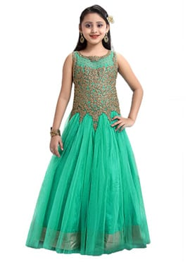 Teal Green Net Teens Gown