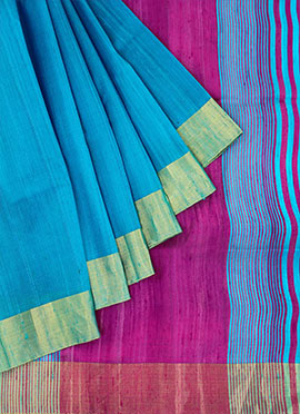 Sky Blue Pure Raw Silk Saree