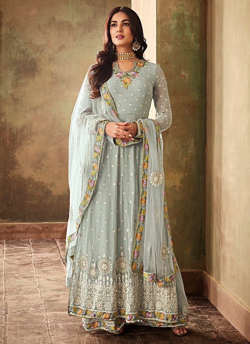 1ebccea04 Buy Sonal Chauhan Light Blue Embroidered Palazzo Suit ...